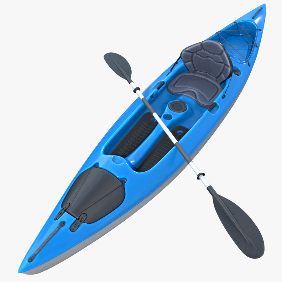 Kayak con Paddle Vray PBR con pelli royalty-free 3d model - Preview no. 1