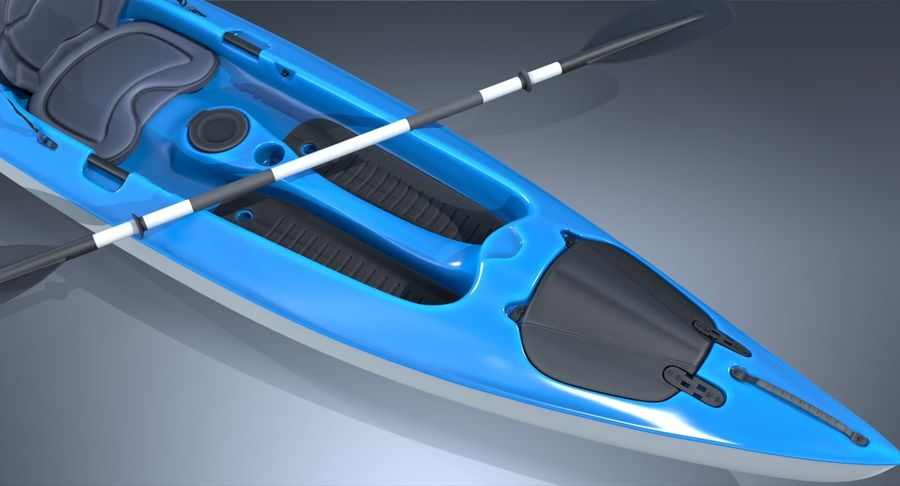 Kajak med Paddle Vray PBR med skinn royalty-free 3d model - Preview no. 7