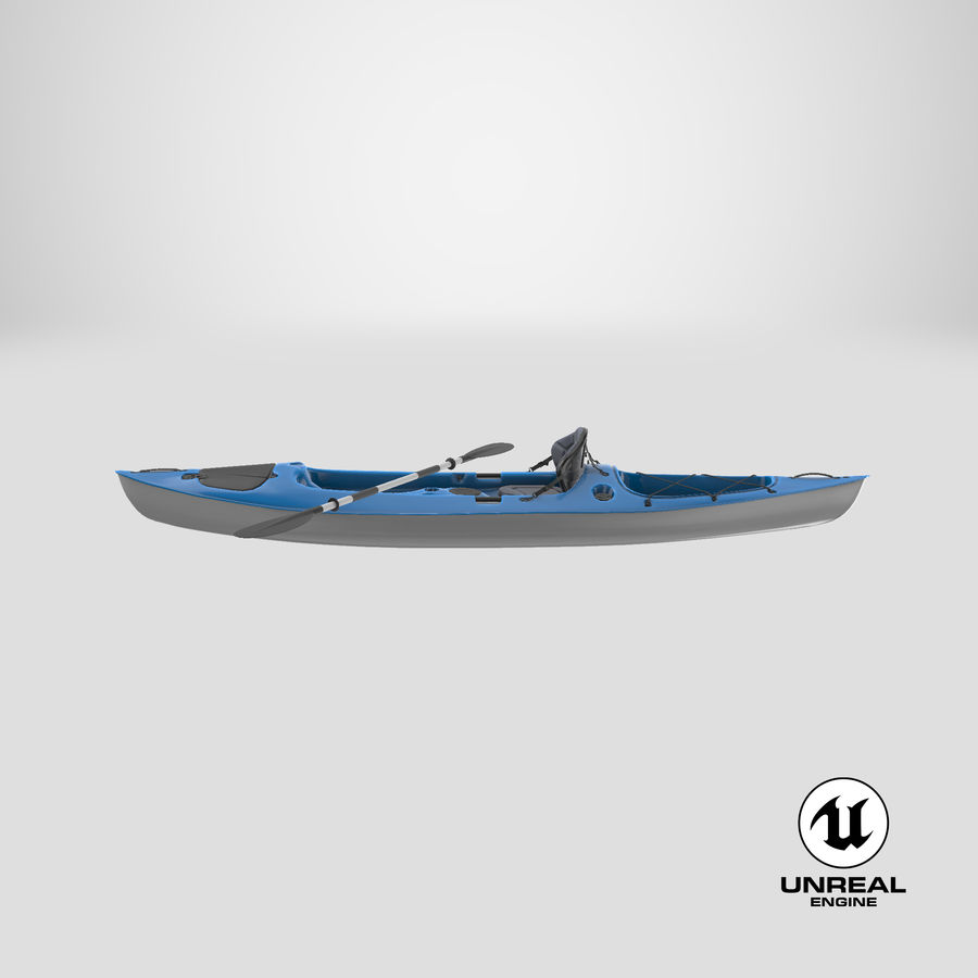 Kayak con Paddle Vray PBR con pelli royalty-free 3d model - Preview no. 18