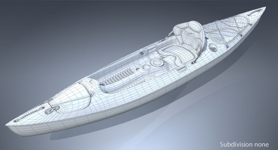 Kayak con Paddle Vray PBR con pelli royalty-free 3d model - Preview no. 8