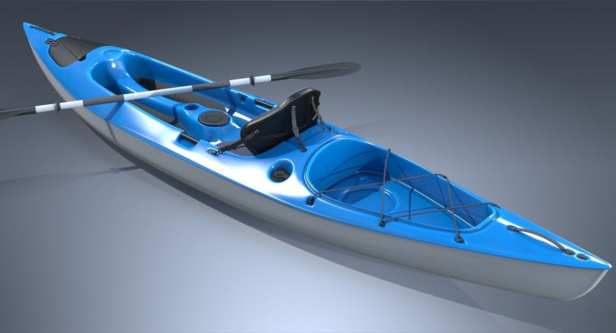 Kayak con Paddle Vray PBR con pelli royalty-free 3d model - Preview no. 5