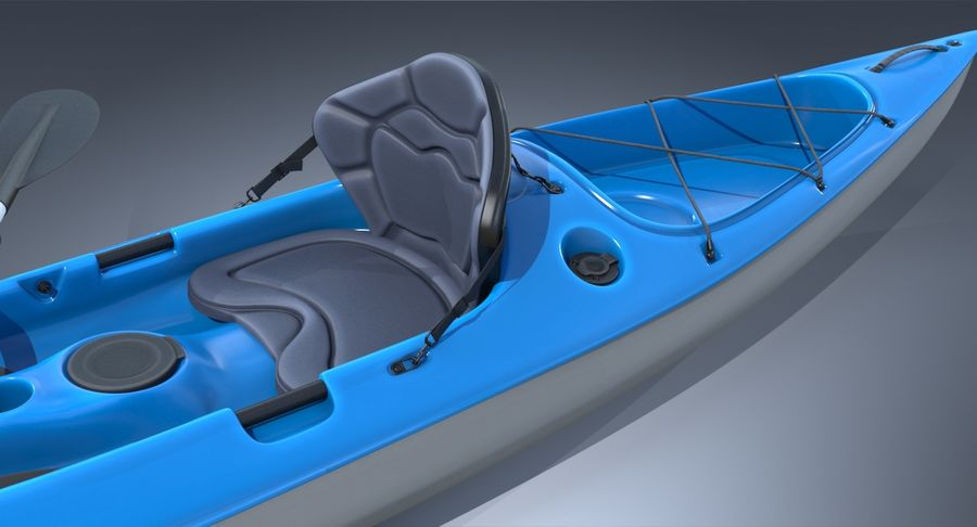 Kayak con Paddle Vray PBR con pelli royalty-free 3d model - Preview no. 6