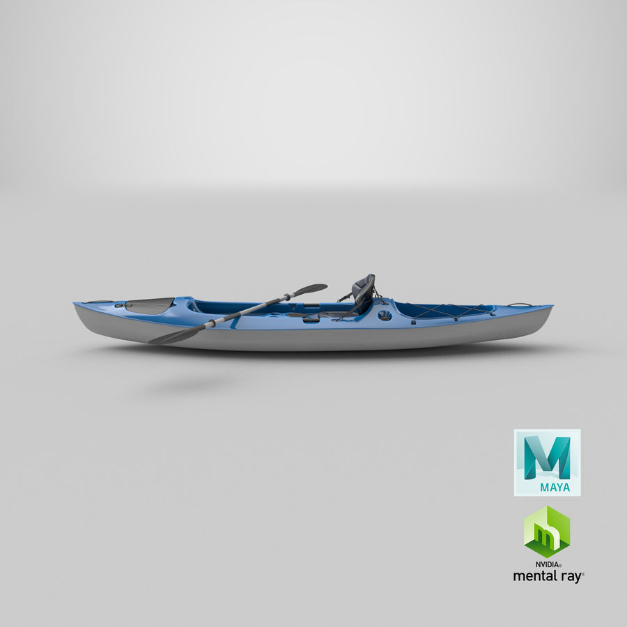Kayak con Paddle Vray PBR con pelli royalty-free 3d model - Preview no. 14