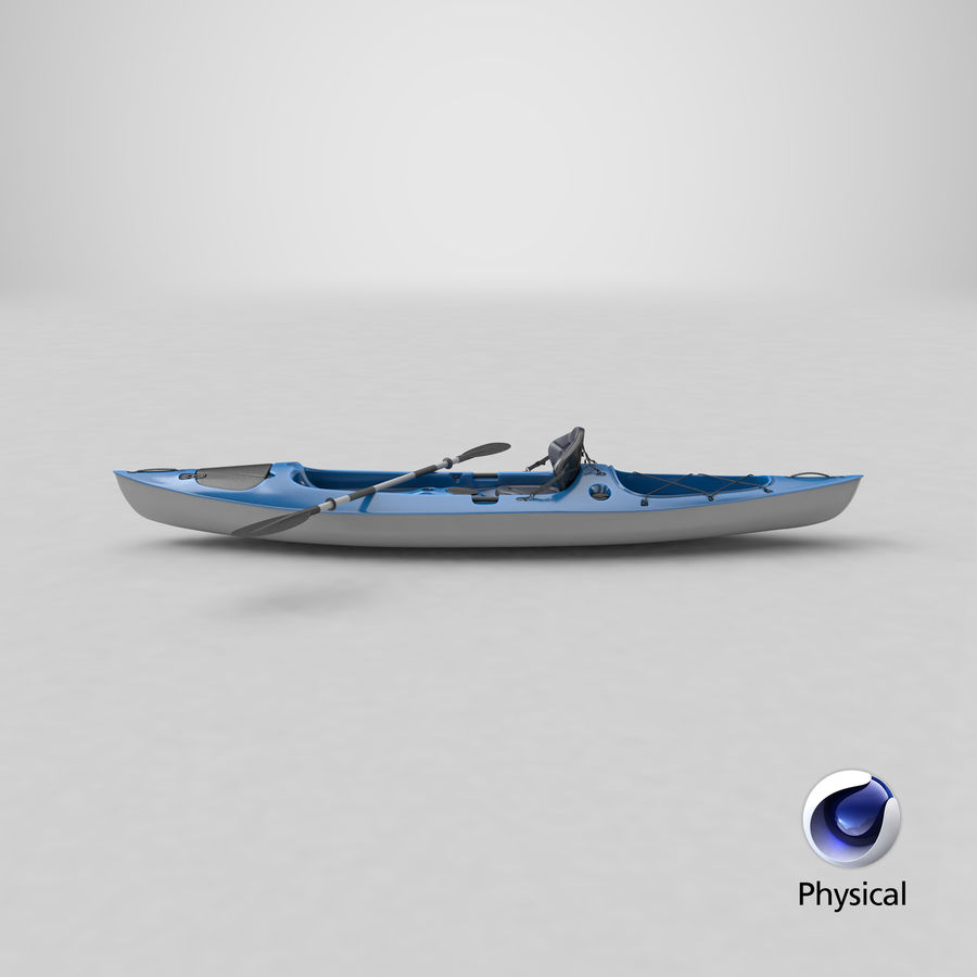 Kajak med Paddle Vray PBR med skinn royalty-free 3d model - Preview no. 17