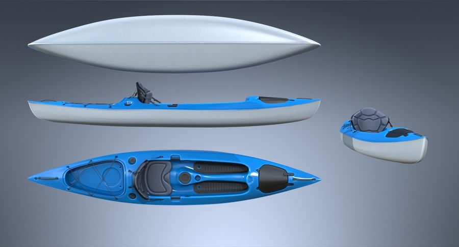 Kayak con Paddle Vray PBR con pelli royalty-free 3d model - Preview no. 3