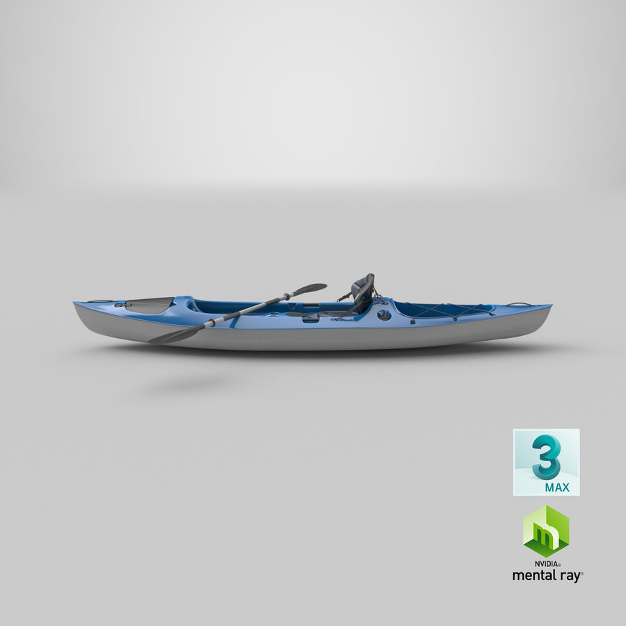 Kajak med Paddle Vray PBR med skinn royalty-free 3d model - Preview no. 16