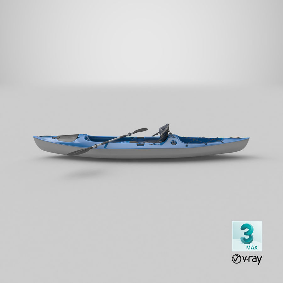 Kajak med Paddle Vray PBR med skinn royalty-free 3d model - Preview no. 15