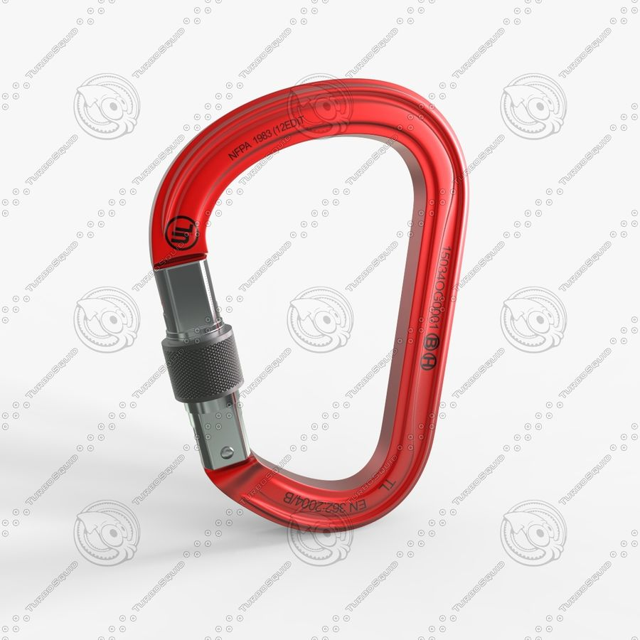 Red Carabiner royalty-free 3d model - Preview no. 2