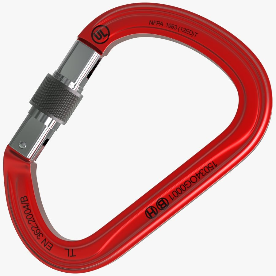 Red Carabiner royalty-free 3d model - Preview no. 1