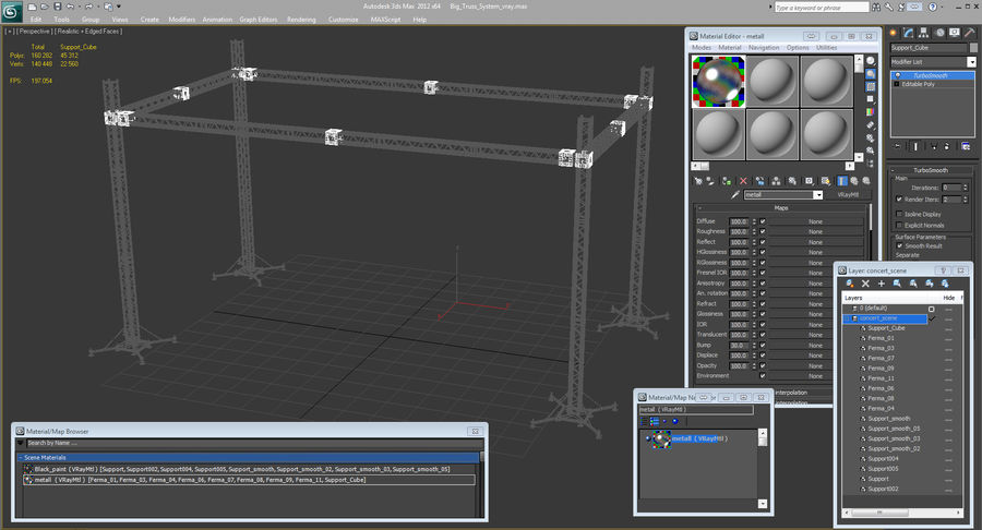Big Truss System royalty-free 3d model - Preview no. 19
