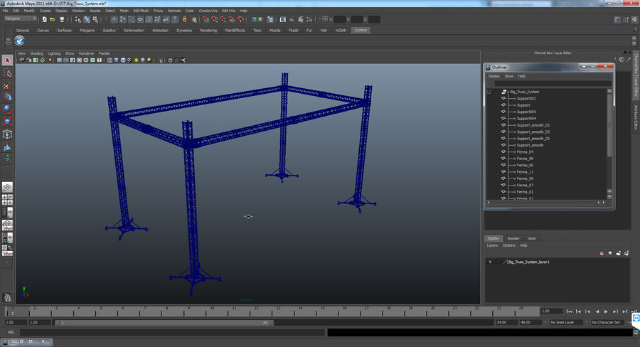 Big Truss System royalty-free 3d model - Preview no. 17