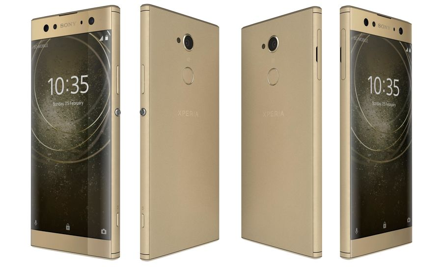 Sony Xperia XA2 Ultra Gold royalty-free 3d model - Preview no. 5