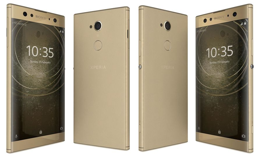Sony Xperia XA2 Ultra Gold royalty-free 3d model - Preview no. 3