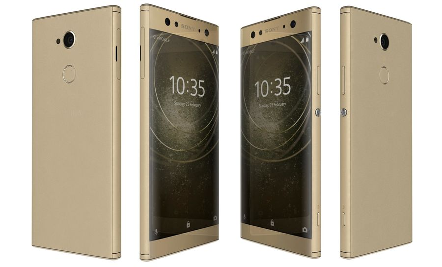 Sony Xperia XA2 Ultra Gold royalty-free 3d model - Preview no. 6