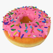Pink Sprinkled Donut 3d model