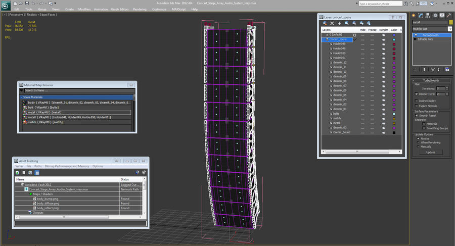Concert Stage Array Audio System royalty-free 3d model - Preview no. 16