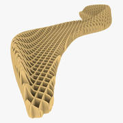 リブ構造付きパラメトリックベンチ 3d model