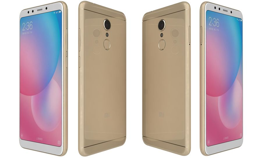Xiaomi Redmi 5 Gold royalty-free 3d model - Preview no. 5