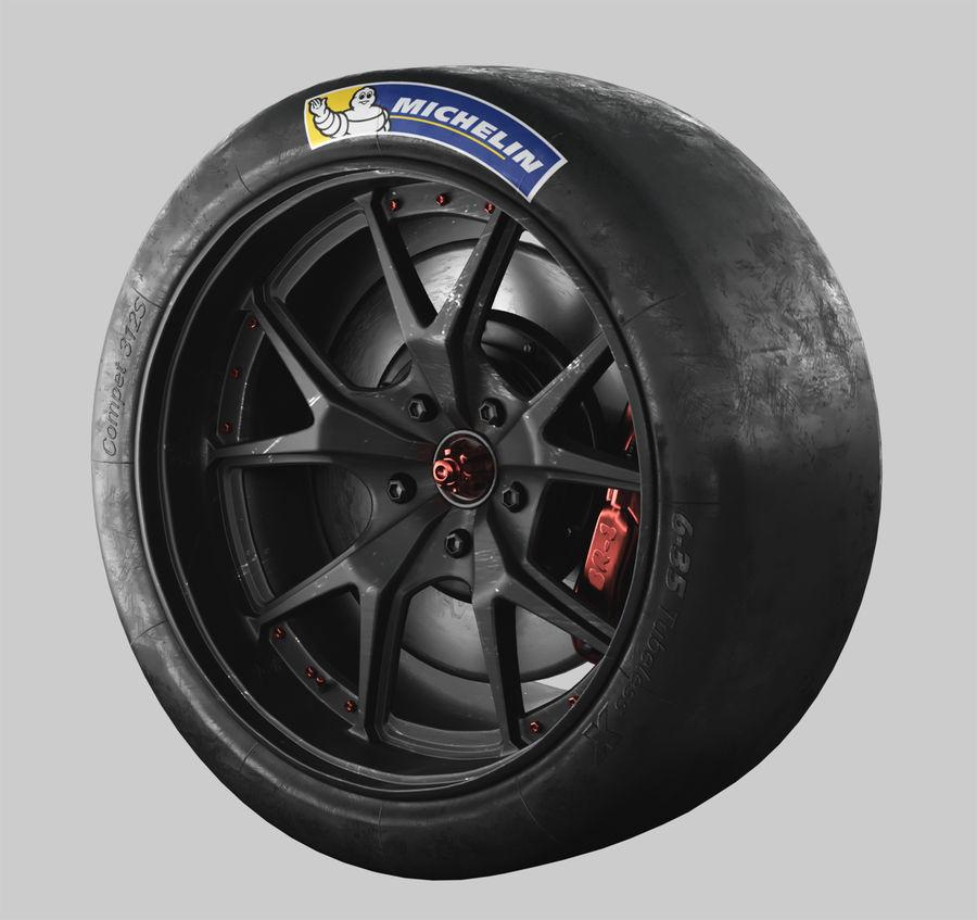ミシュランタイヤ付きレーシングホイール royalty-free 3d model - Preview no. 2