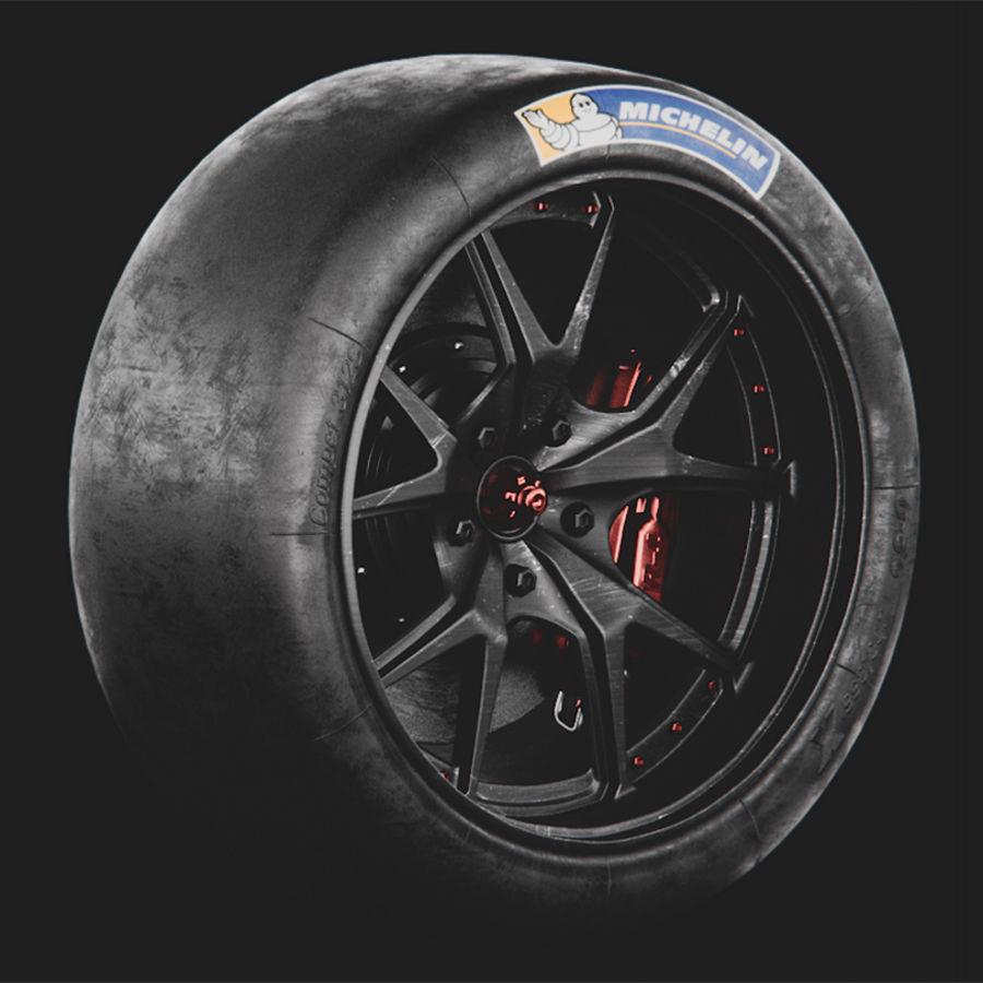 ミシュランタイヤ付きレーシングホイール royalty-free 3d model - Preview no. 1