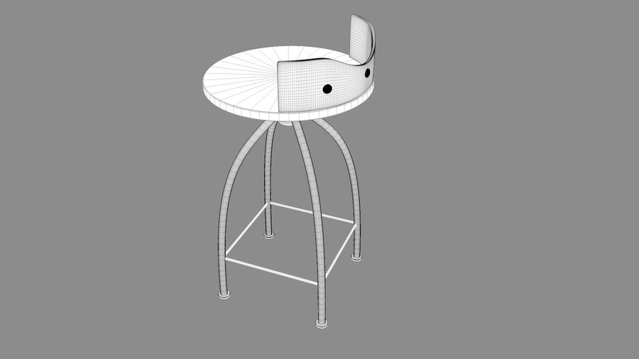 Chair Bar Stool royalty-free 3d model - Preview no. 11