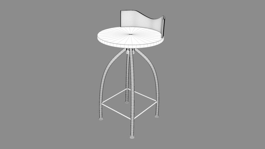 Chair Bar Stool royalty-free 3d model - Preview no. 13