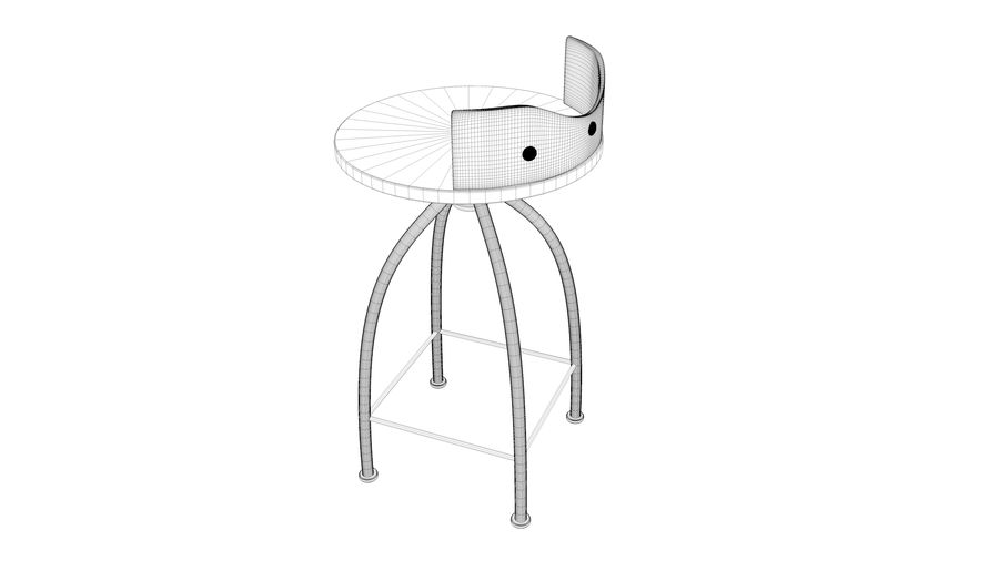 Chair Bar Stool royalty-free 3d model - Preview no. 12