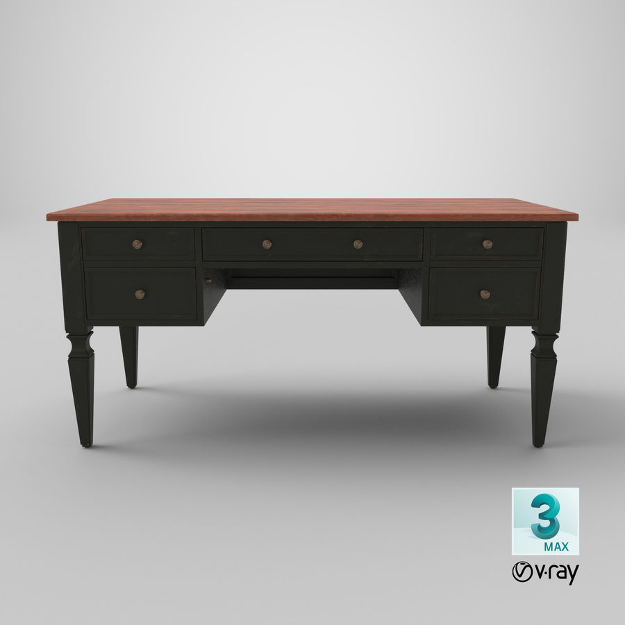 Traditional Desk royalty-free 3d model - Preview no. 22