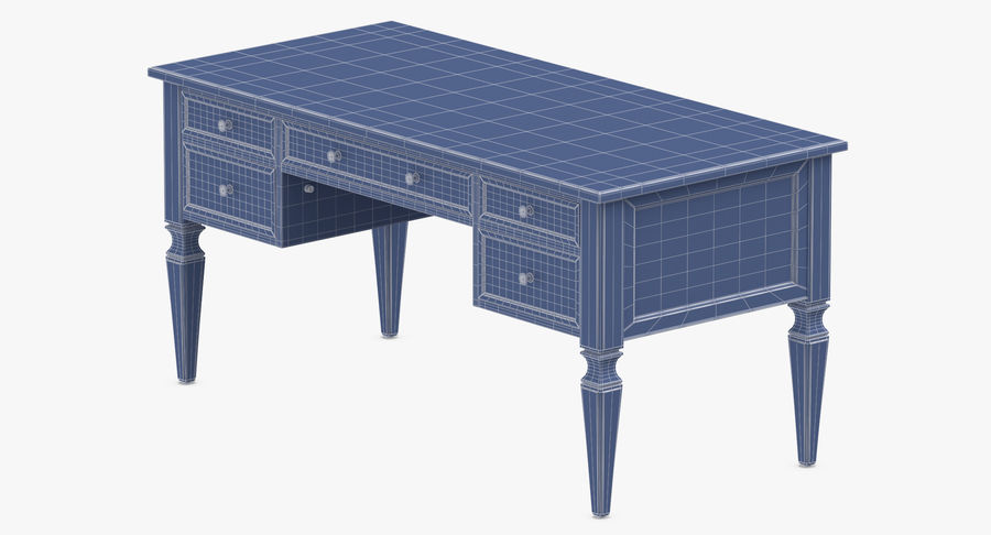 Traditional Desk royalty-free 3d model - Preview no. 10