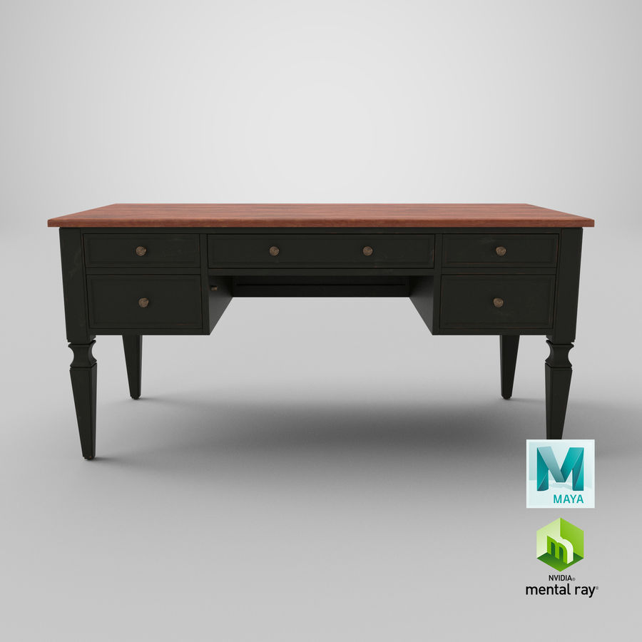 Traditional Desk royalty-free 3d model - Preview no. 21