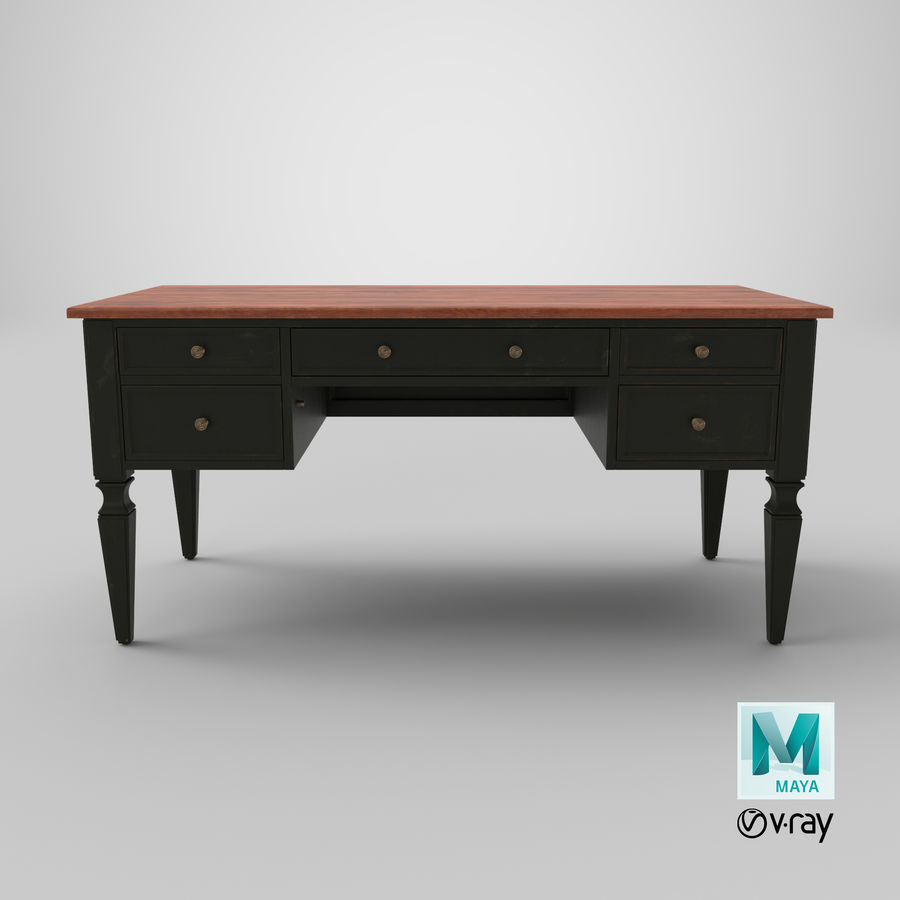 Traditional Desk royalty-free 3d model - Preview no. 20