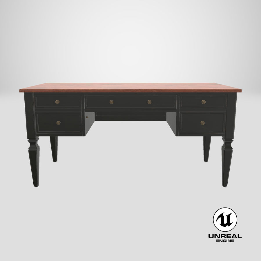 Traditional Desk royalty-free 3d model - Preview no. 25