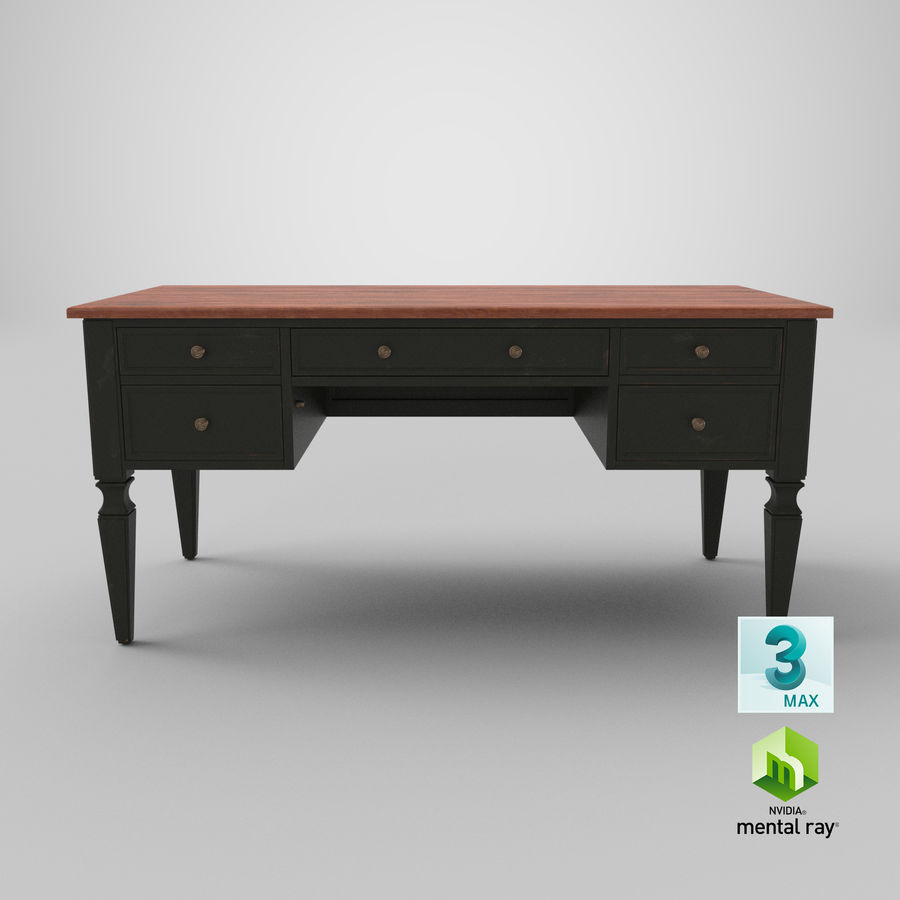 Traditional Desk royalty-free 3d model - Preview no. 23