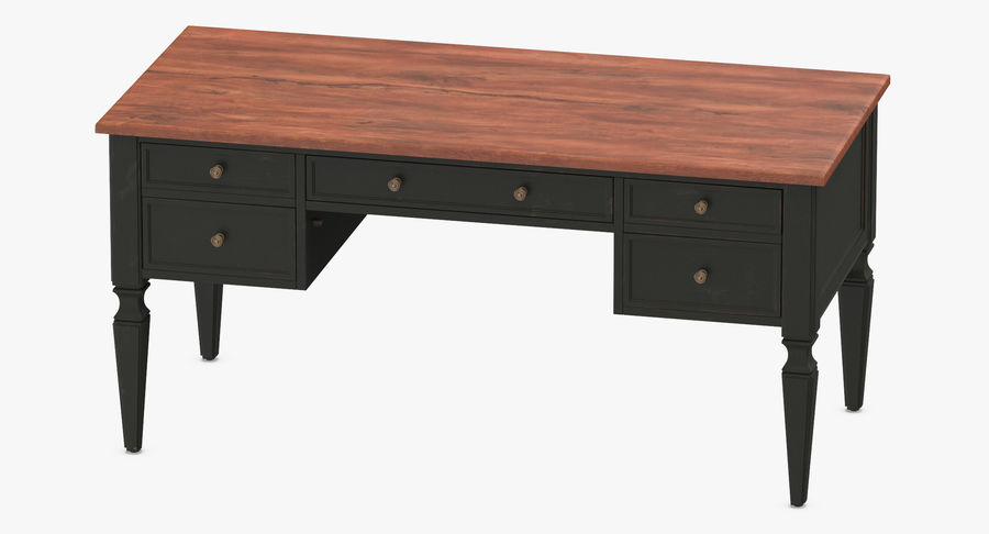 Traditional Desk royalty-free 3d model - Preview no. 6