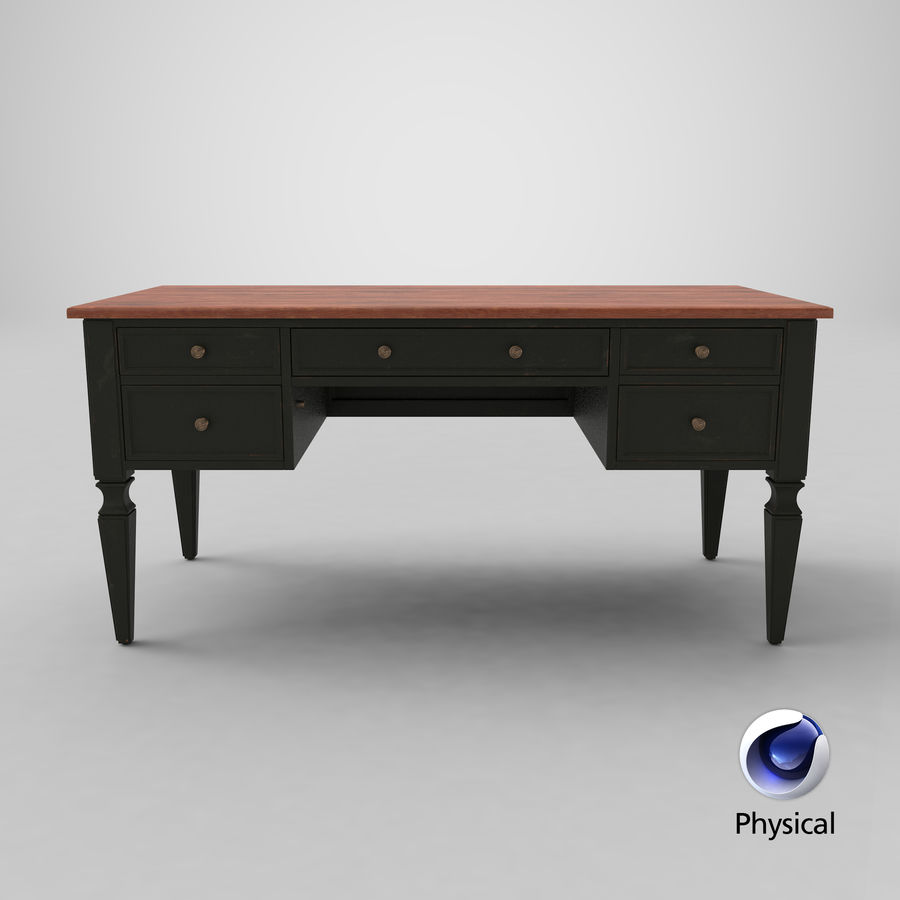 Traditional Desk royalty-free 3d model - Preview no. 24