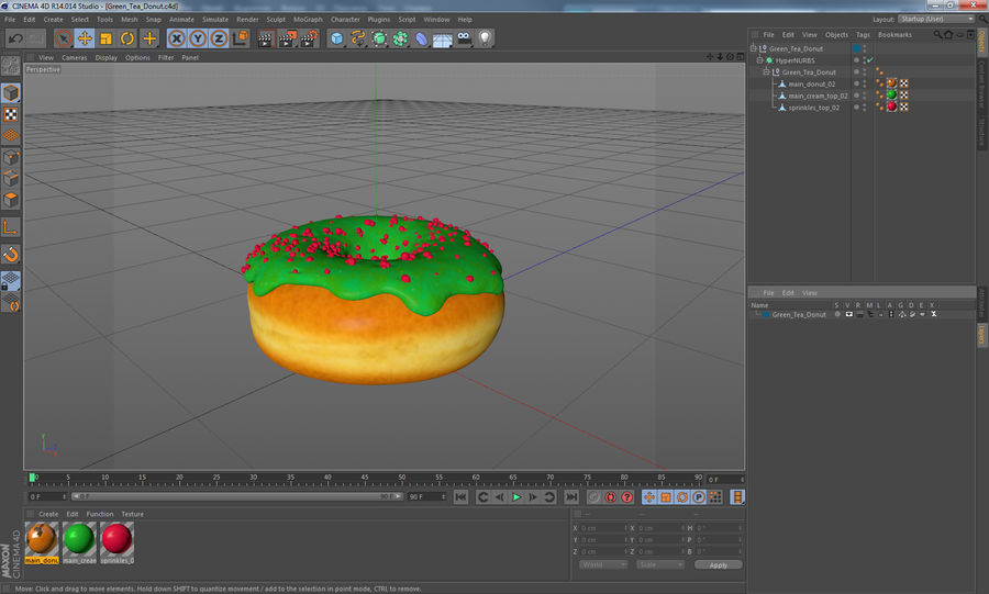 Green Tea Donut royalty-free 3d model - Preview no. 14