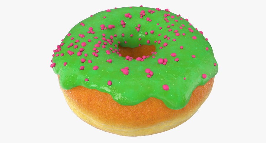 Green Tea Donut royalty-free 3d model - Preview no. 2