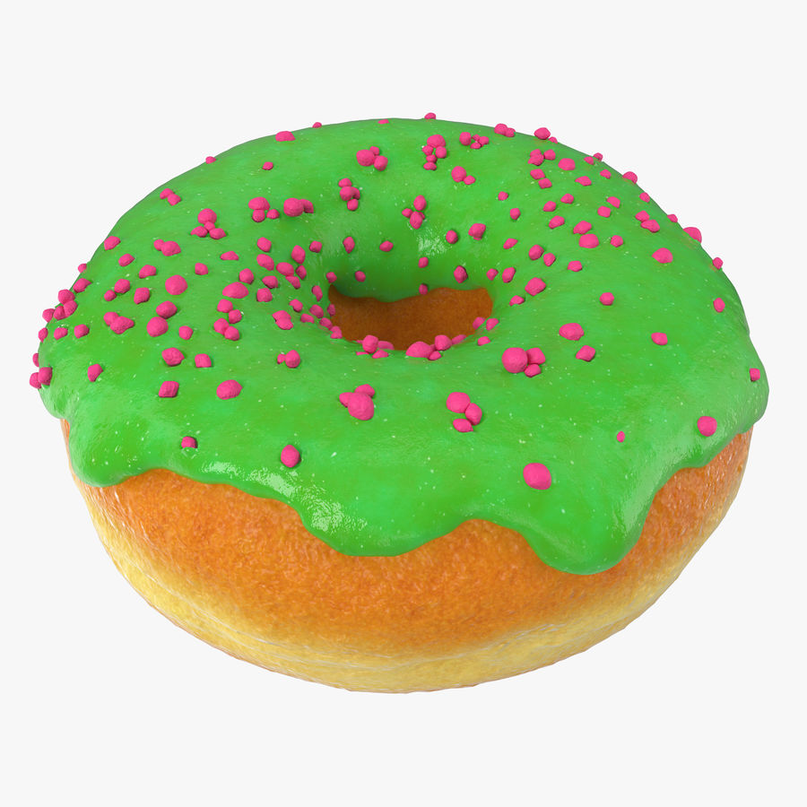 Green Tea Donut royalty-free 3d model - Preview no. 1