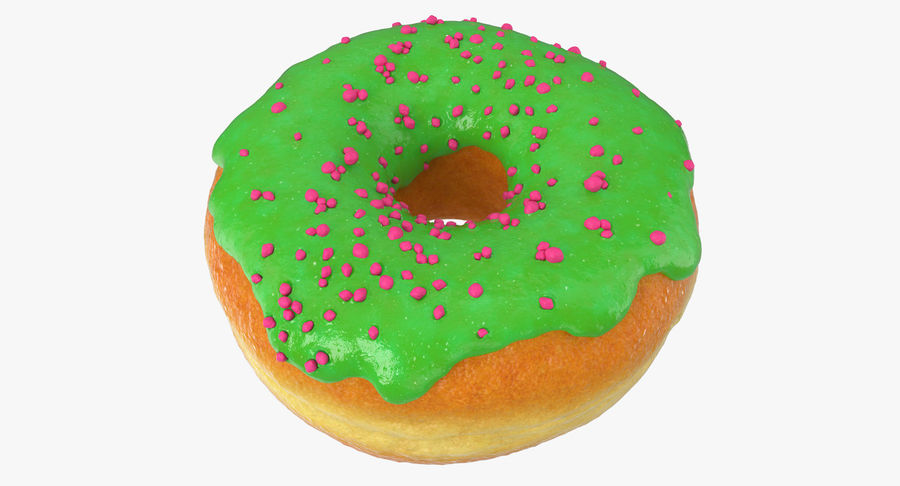 Green Tea Donut royalty-free 3d model - Preview no. 5