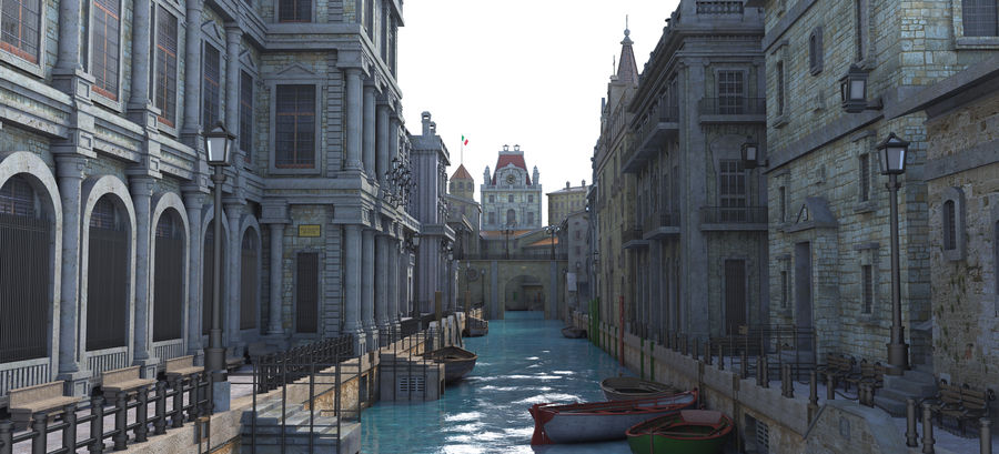 Sunset Venice Landscape royalty-free 3d model - Preview no. 2
