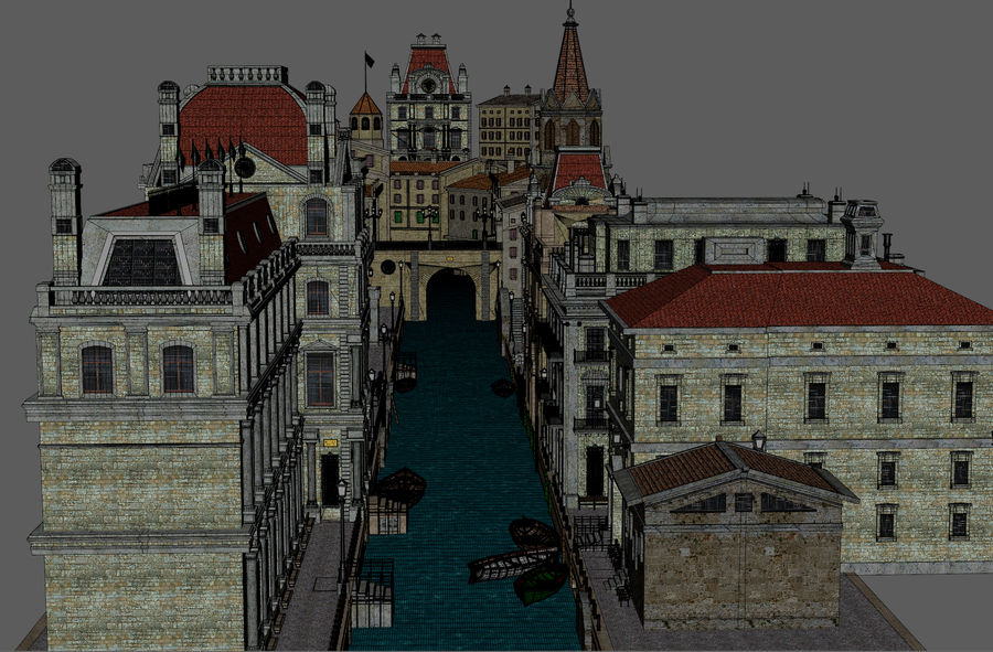 Sunset Venice Landscape royalty-free 3d model - Preview no. 15