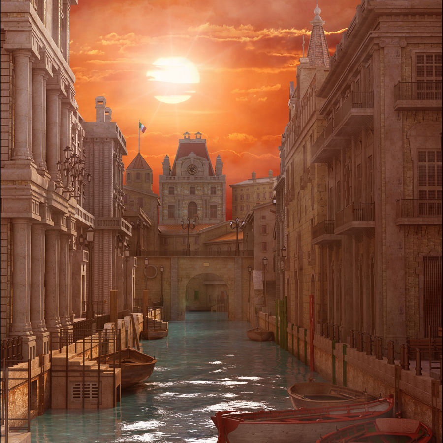 Sunset Venice Landscape royalty-free 3d model - Preview no. 3