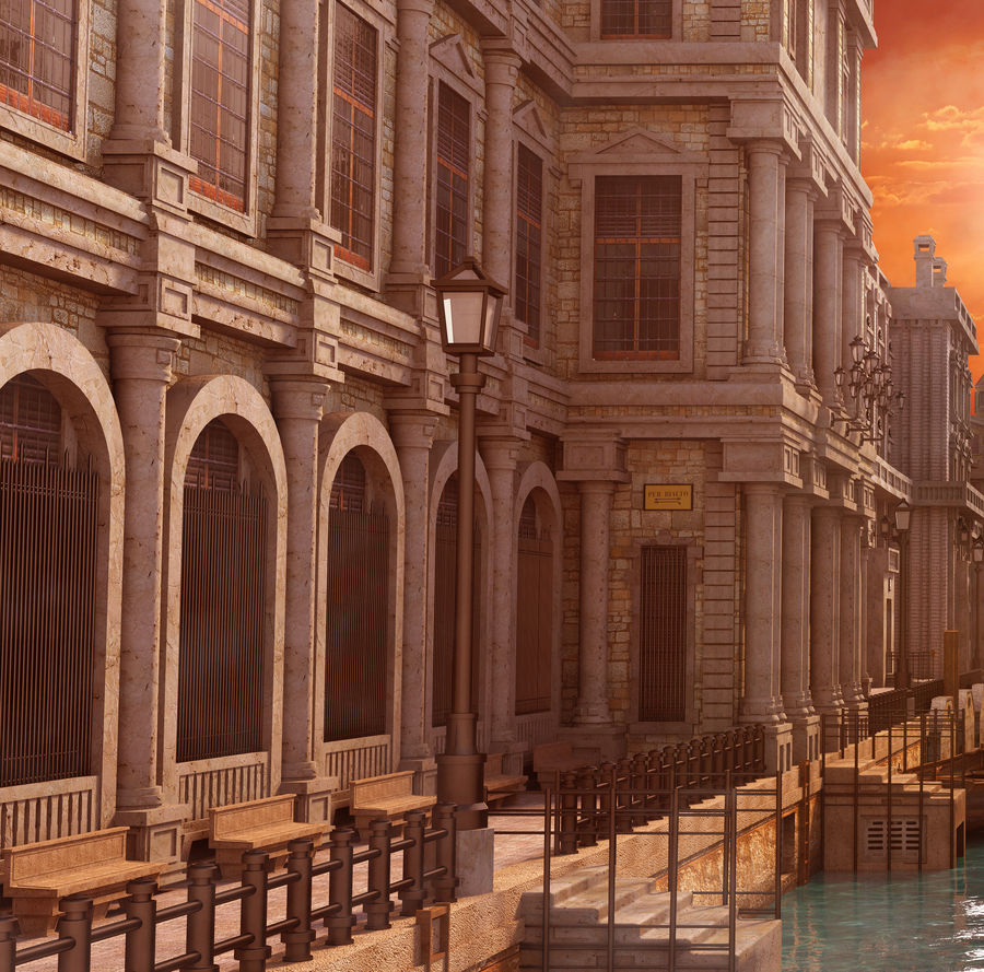 Sunset Venice Landscape royalty-free 3d model - Preview no. 4
