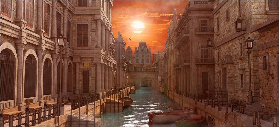 Sunset Venice Landscape royalty-free 3d model - Preview no. 1