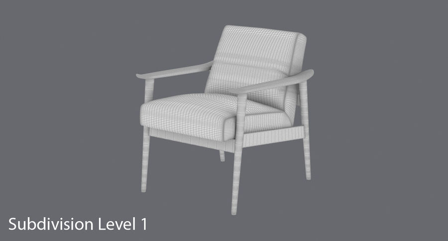 中世纪现代扶手椅 royalty-free 3d model - Preview no. 15