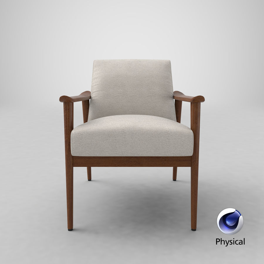 Mid century modern arm chair royalty free 3d model preview no 23