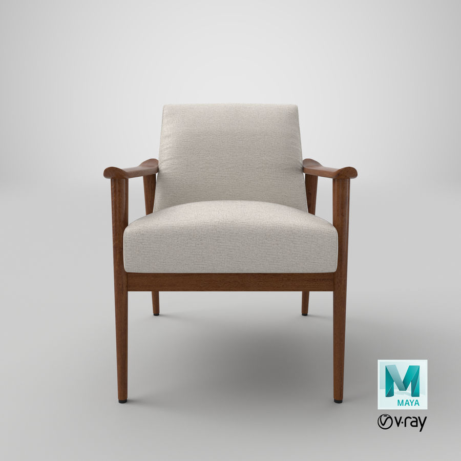 中世纪现代扶手椅 royalty-free 3d model - Preview no. 19