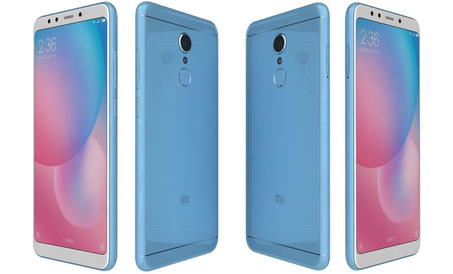 Xiaomi Redmi 5 Light Blue royalty-free 3d model - Preview no. 5