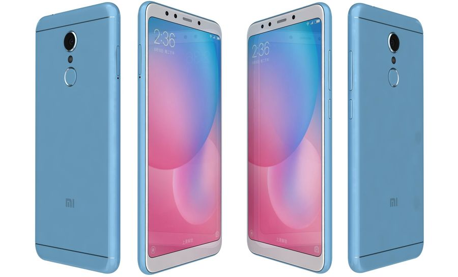 Xiaomi Redmi 5 Light Blue royalty-free 3d model - Preview no. 6