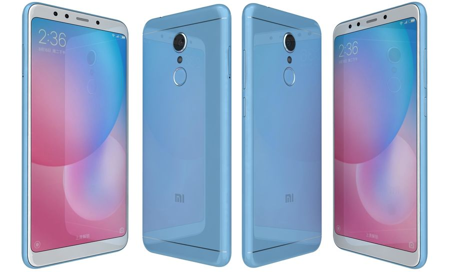 Xiaomi Redmi 5 Light Blue royalty-free 3d model - Preview no. 4